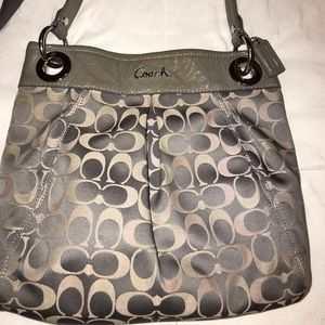 Coach purse, medium, pink/gray.